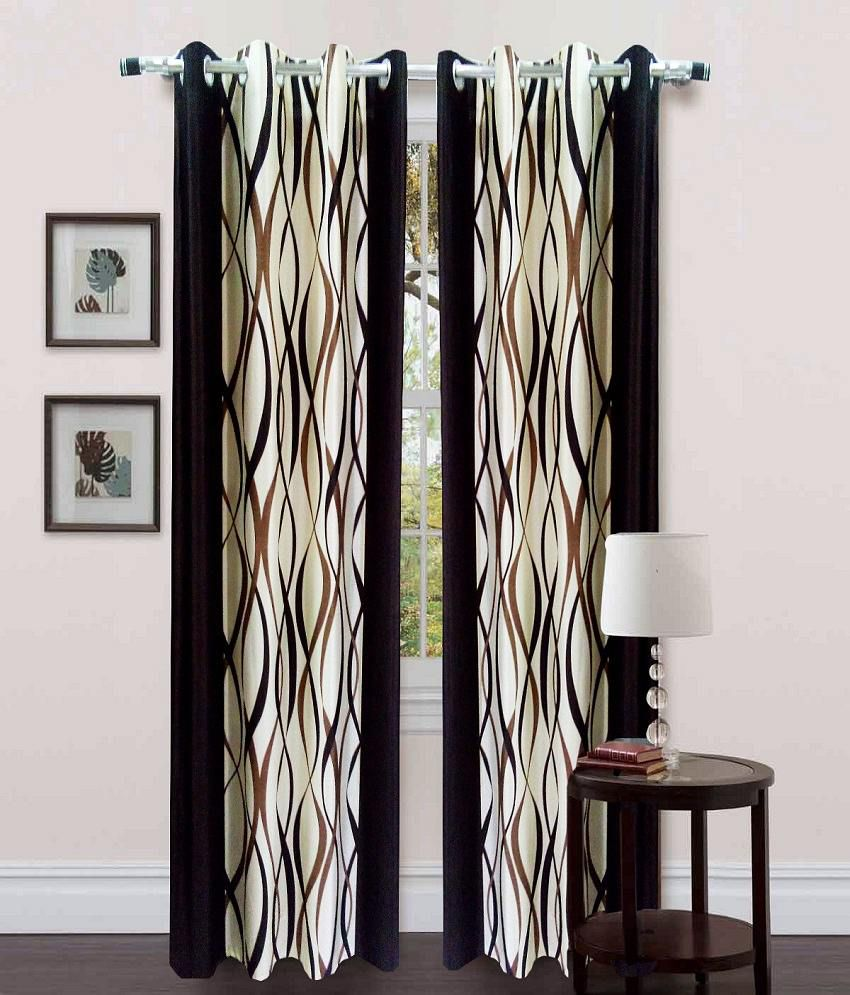 Homefab India Set of 2 Window Eyelet Curtains Abstract Brown