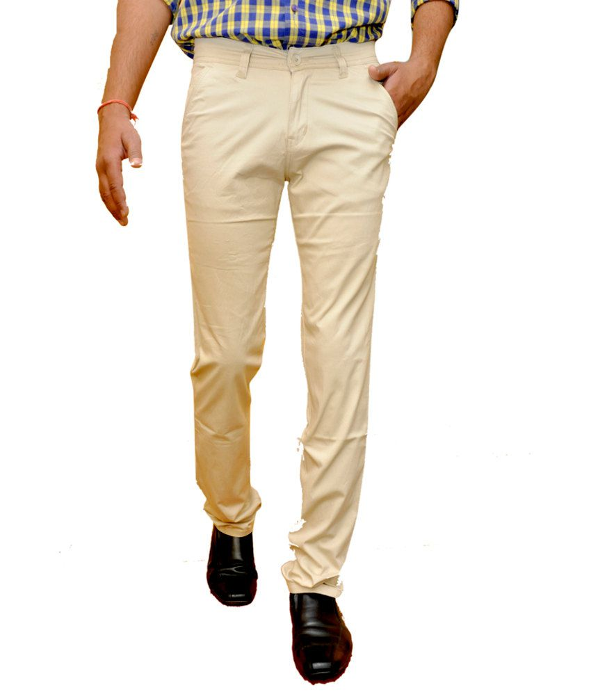 Smartshop123 Peachpuff Cotton Lycra Slim Casual Trouser