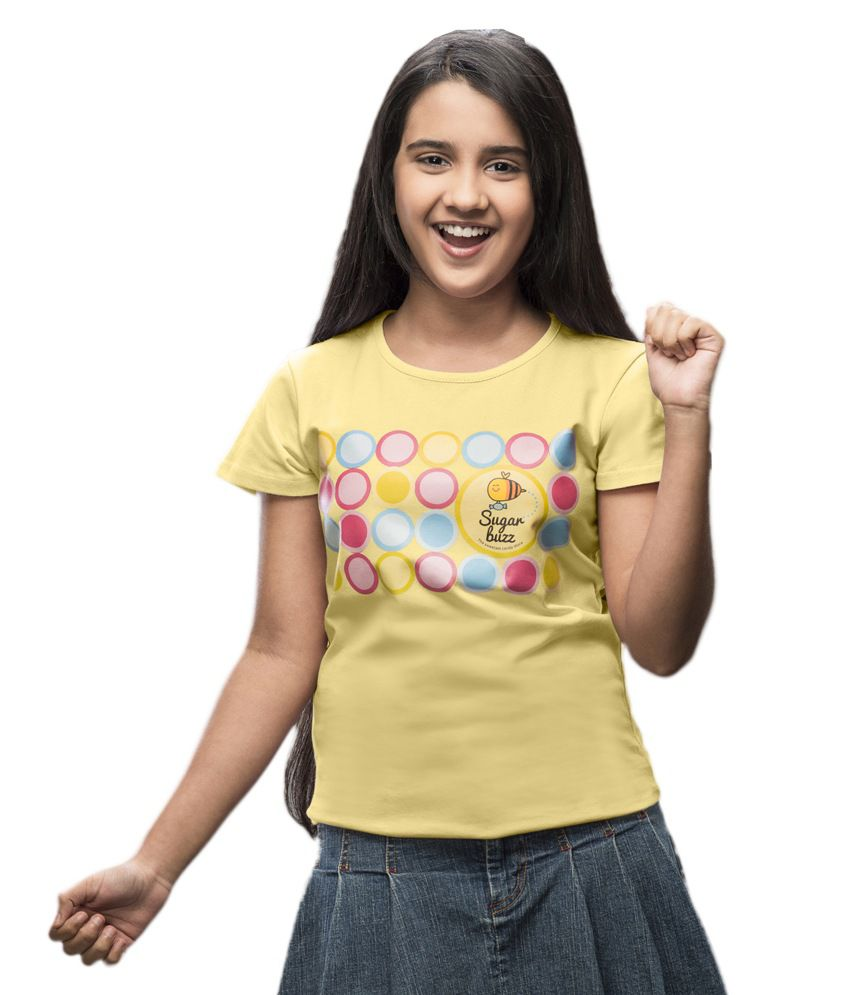 ffe7c26817 Imagica Yellow Sugarbuzz Circles T Shirt For Girls available at SnapDeal  for Rs.350