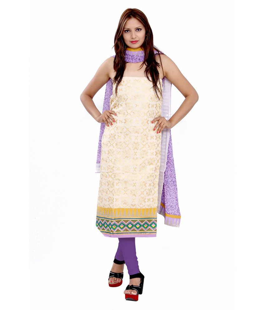 GRJ India Beige Cotton Regular Embroidered Dress Material