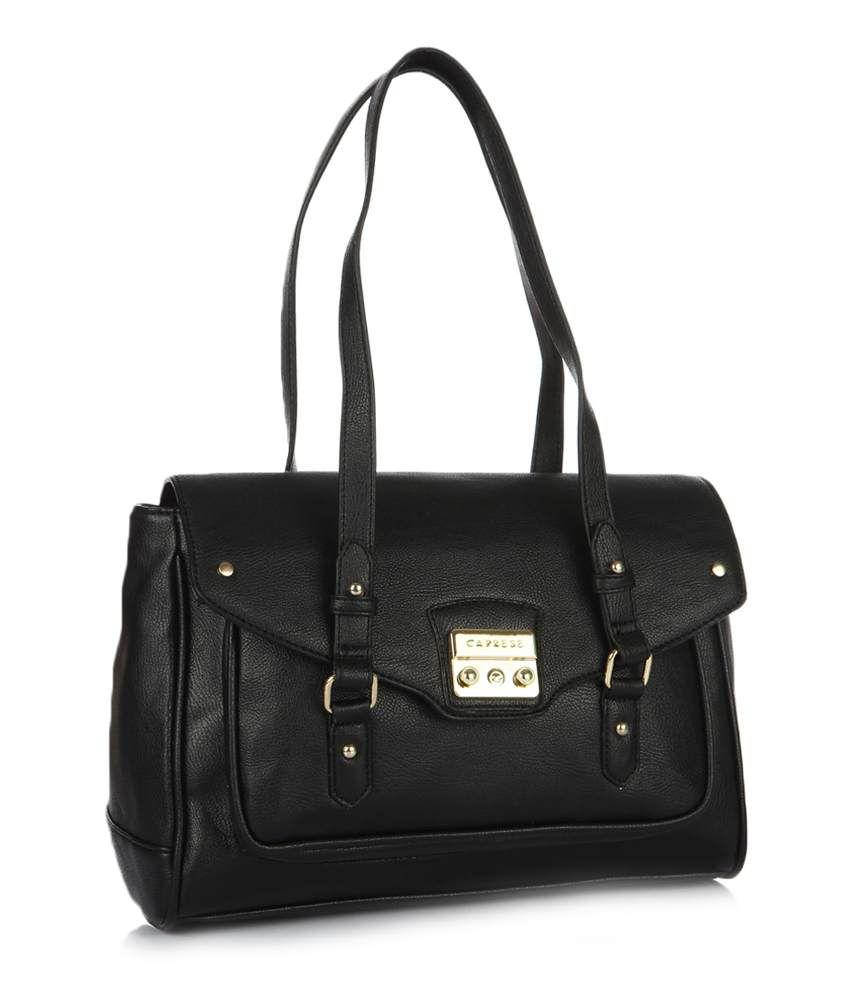 1e89d3741a8 Caprese Brenda Satchel Black Handbag - Buy Caprese Brenda Satchel Black  Handbag Online at Best Prices in India on Snapdeal