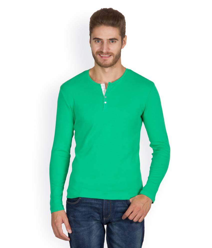 Hues 5001 O Stylish Green Men T Shirt