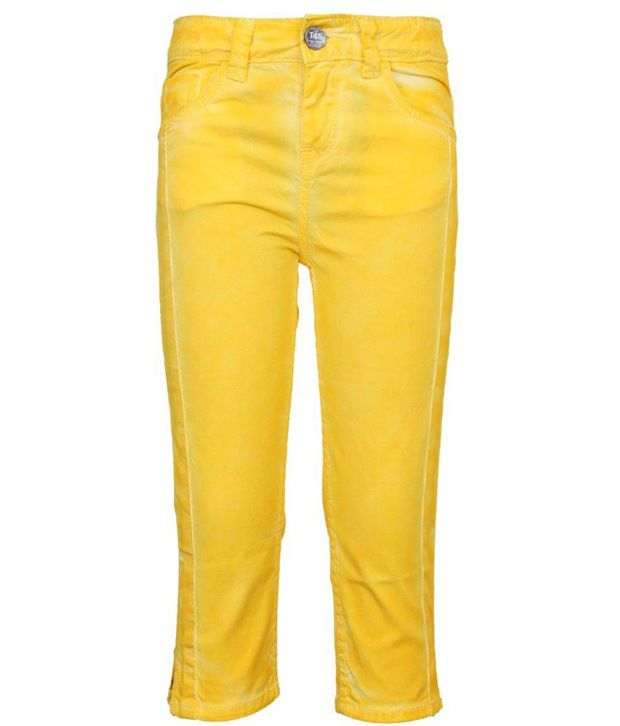 Tales & Stories Yellow Washed Effect Capri