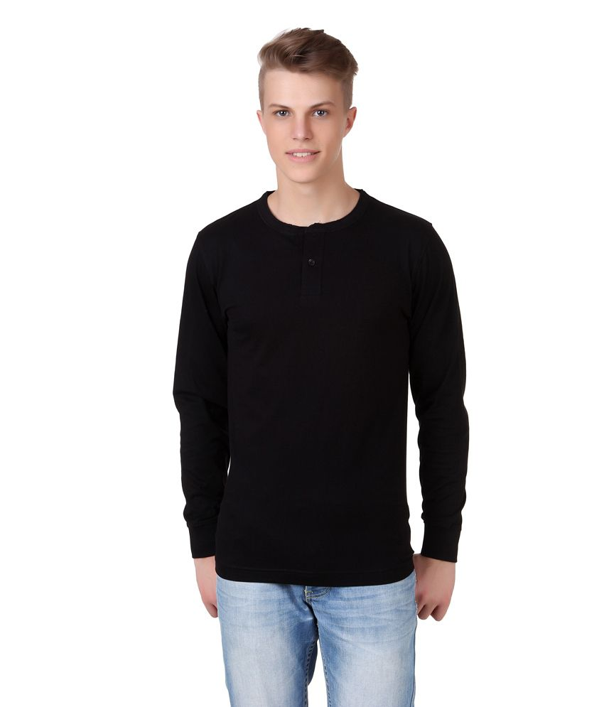 Aventura Outfitters Black Cotton Full Sleeves T-shirt For Men