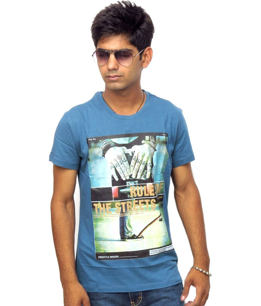 Brotherhood Blue Cotton Blend Printed T-shirt