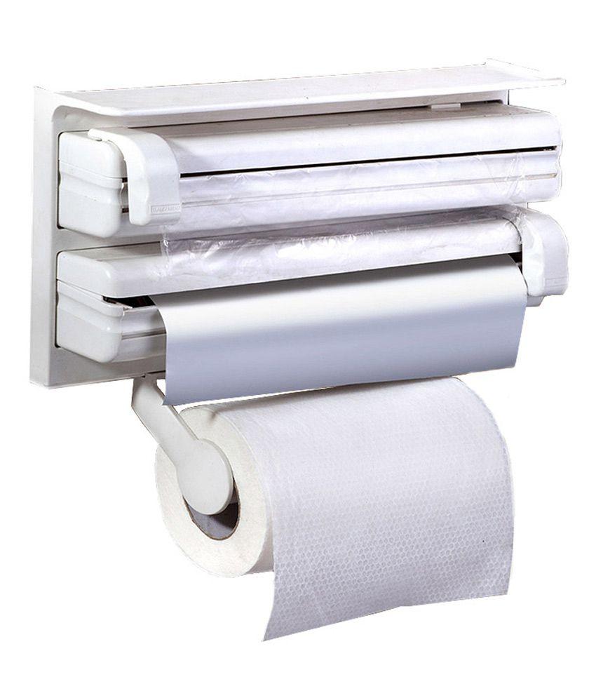 And Retails Triple Paper Dispenser For Cling Film Wrap Aluminium within Kitchen Roll Cling Film Tin Foil Dispenser