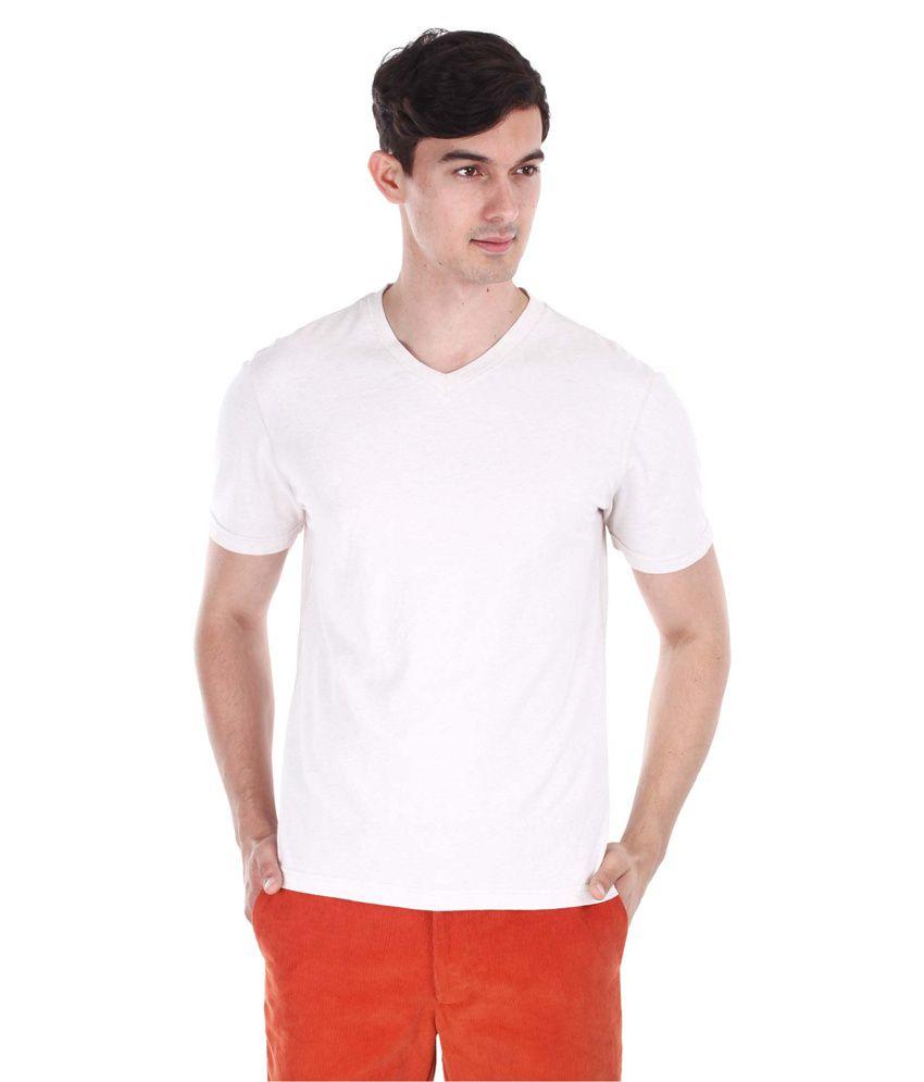 Zobello Beige Cotton V-neck Half T-shirt