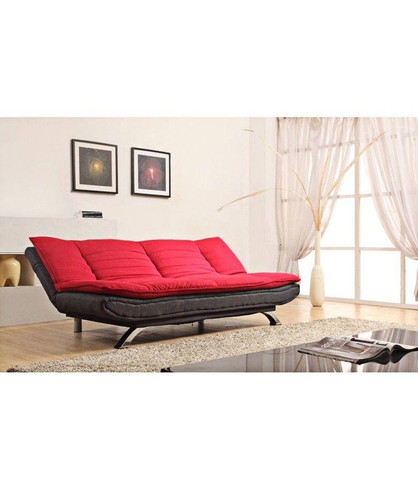 edo 3 seater sofa cum bed - red & black - buy edo 3 seater sofa