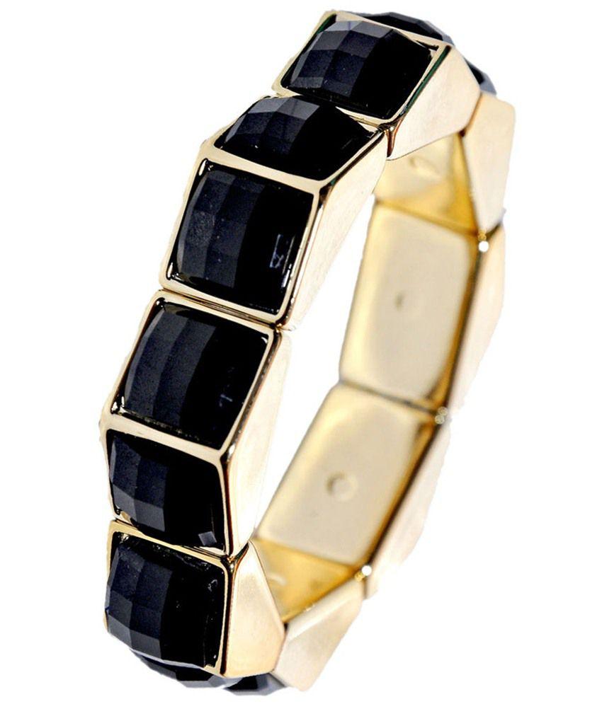 Maayra Fab Black Gold Statement Adjustable Bracelet