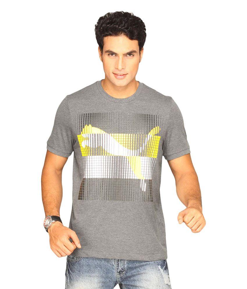 Puma Gray Polyester T-shirt