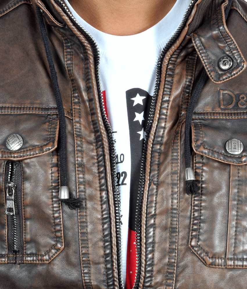 laest technology fashionable patterns huge range of D&g Brown Leather Full Casual Jacket - Buy D&g Brown Leather ...