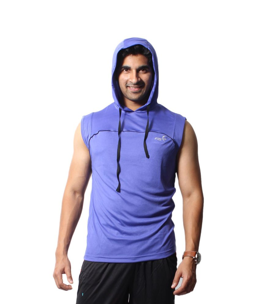 Fitz Purple Hooded Polyester Sleeveless T-shirt For Men