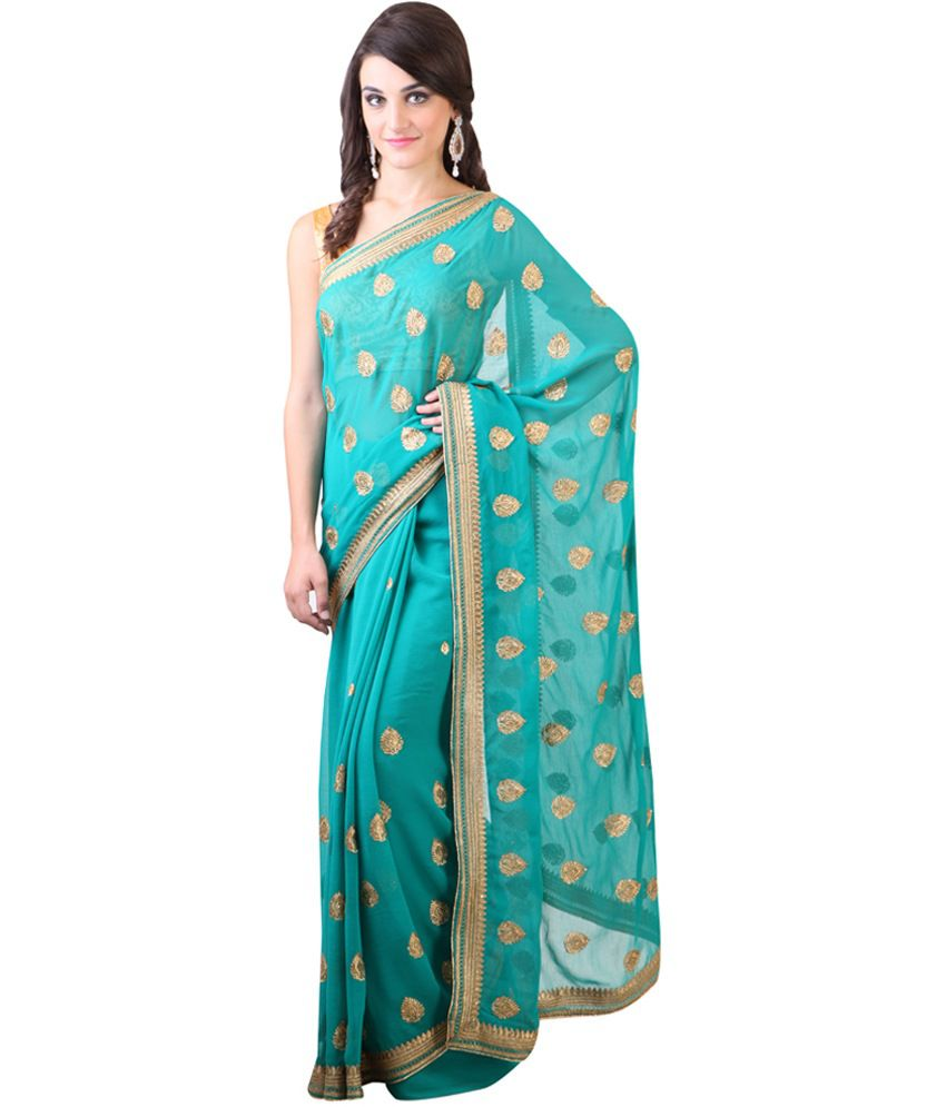 Libas Green Embroidered Semi Chiffon Saree with Blouse Piece
