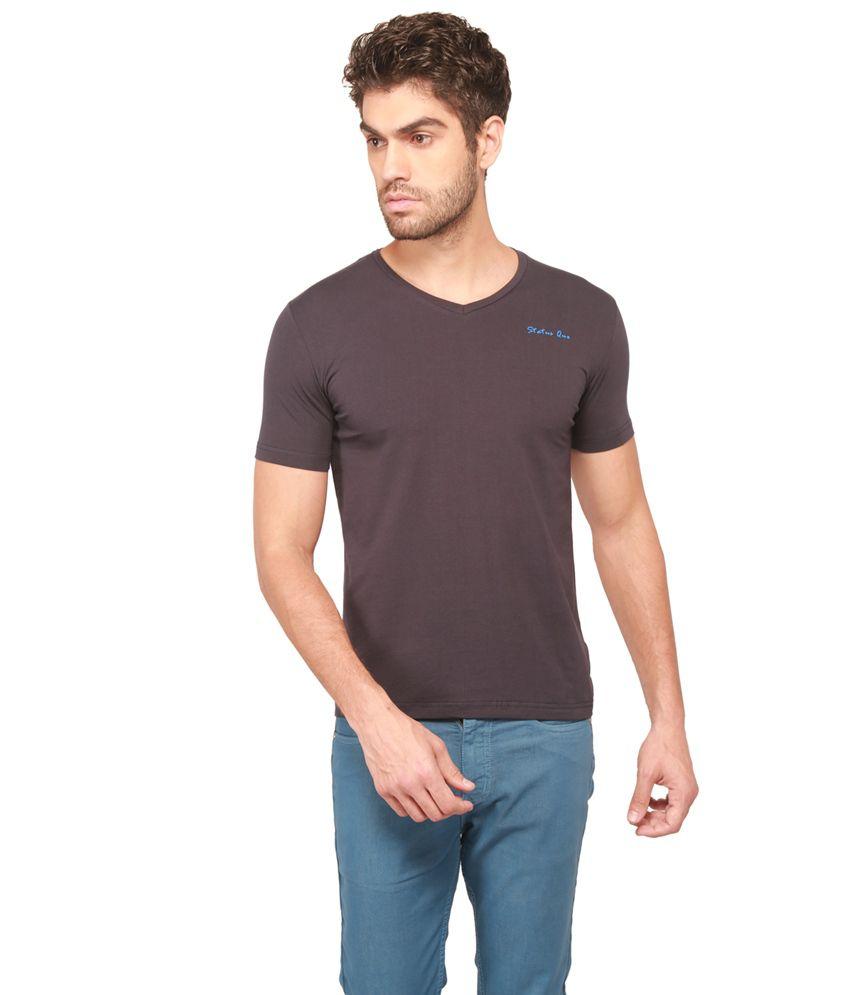 Status Quo Blue Cotton Half Sleeves Mens T-shirt