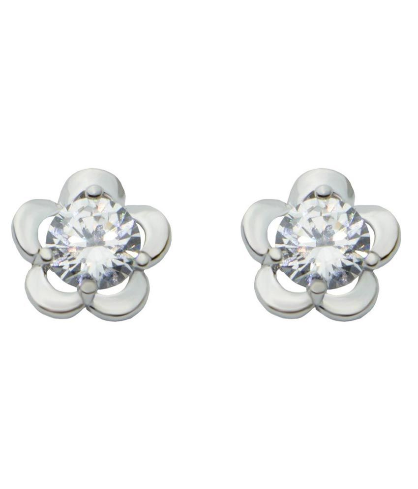 De Beaute 18k White Gold Plated Nature Inspired Floral Solitaire Earring