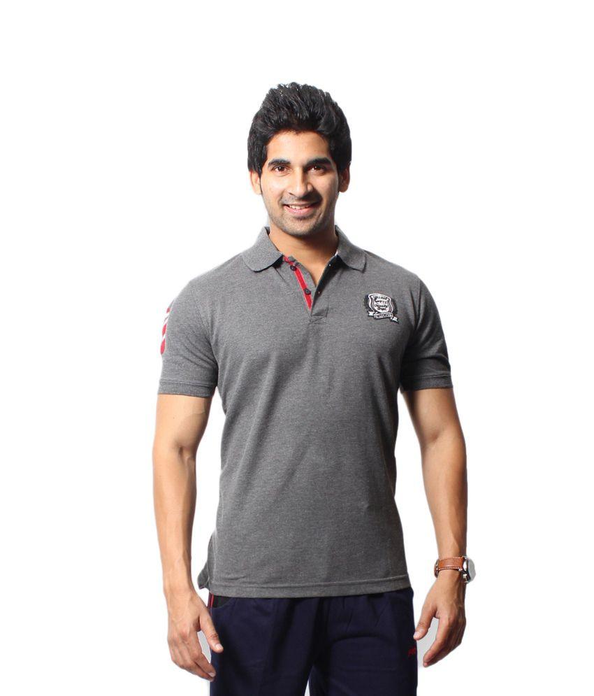 Fitz Gray High Neck Polyester Half T-shirt For Men
