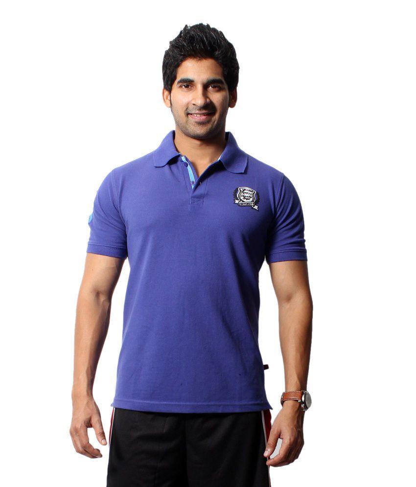 Fitz Purple High Neck Polyester Half T-shirt For Men