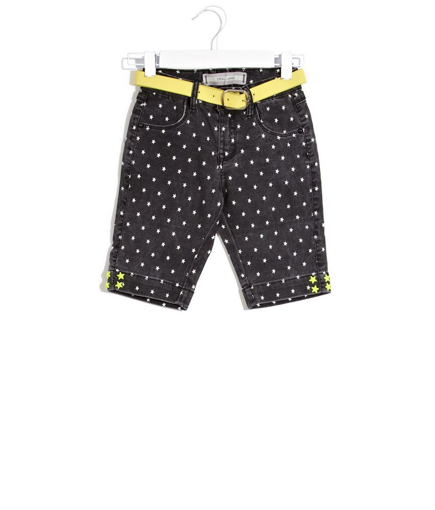 Deal Jeans Kids Black Star Studded Shorts