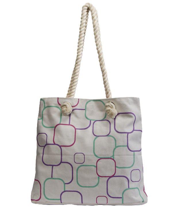 Greenobag Squares White Tote Bag With Free Badge