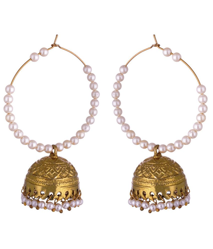 Kshitij Traditional Golden Jhumki Earrings