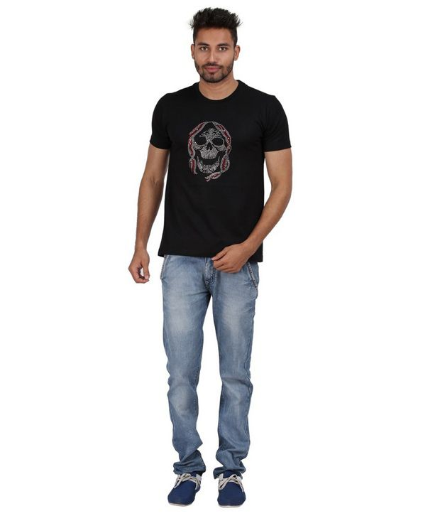 Xtees Black Printed Cotton Muffler Skull Ornamental Rhinestone T-shirt