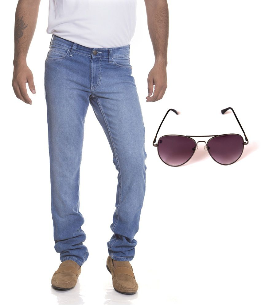 Flying Machine Blue Cotton Slim Fit Faded Jeans With Spartiate Sunglass