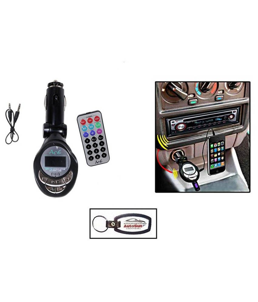 Autosun-4 In 1 Fm Modulator With Mp3, Usb, Sd Card, Aux Cable/key  Chain/ford Ikon Flair