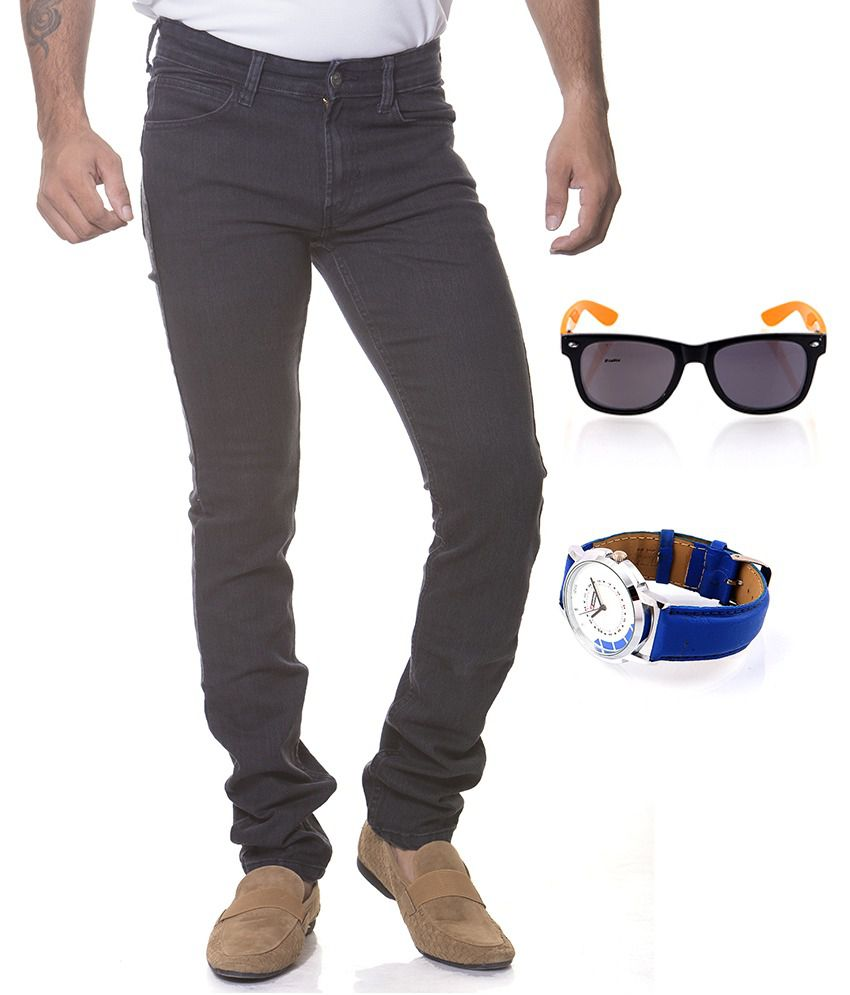 Flying Machine Black Cotton Slim Faded Jeans With Lotto Sunglass And Lotto Watch