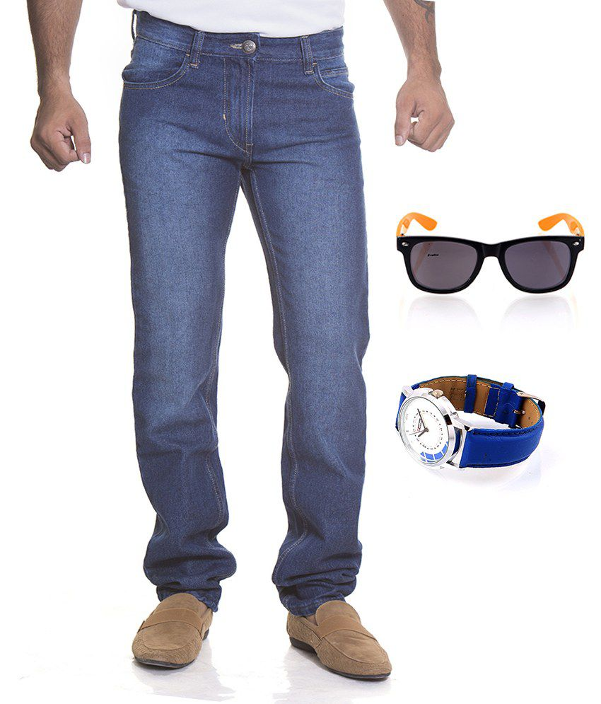 Flying Machine Blue Cotton Slim Faded Jeans With Lotto Sunglass And Lotto Watch