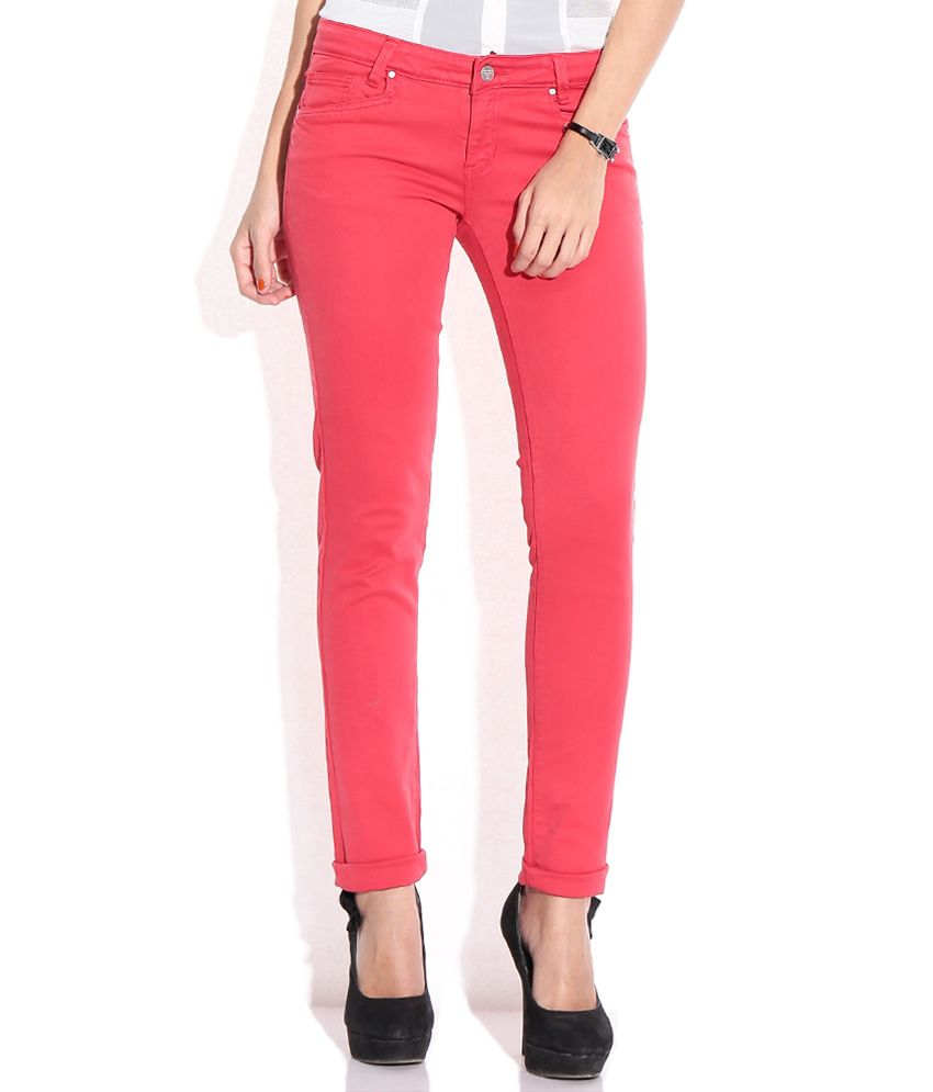 47fa26c269b123 Buy Madame Red Cotton Jeans Online at Best Prices in India - Snapdeal