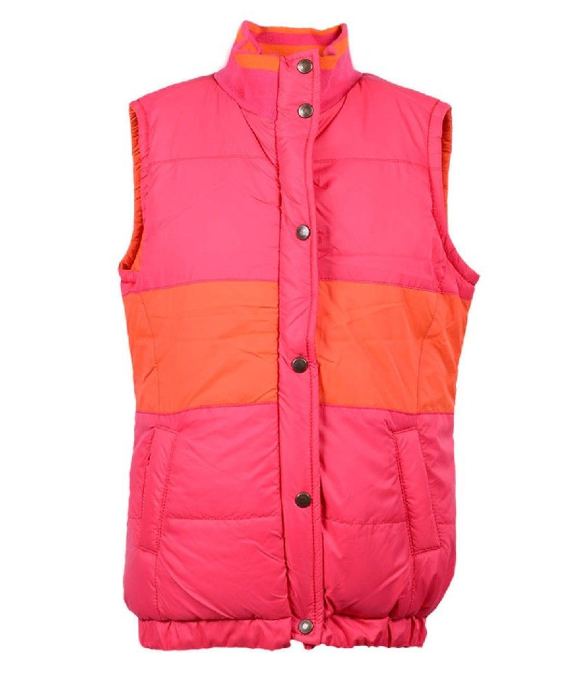 Ello Sleeveless Orange Color Without Hoods Padded Jackets For Kids