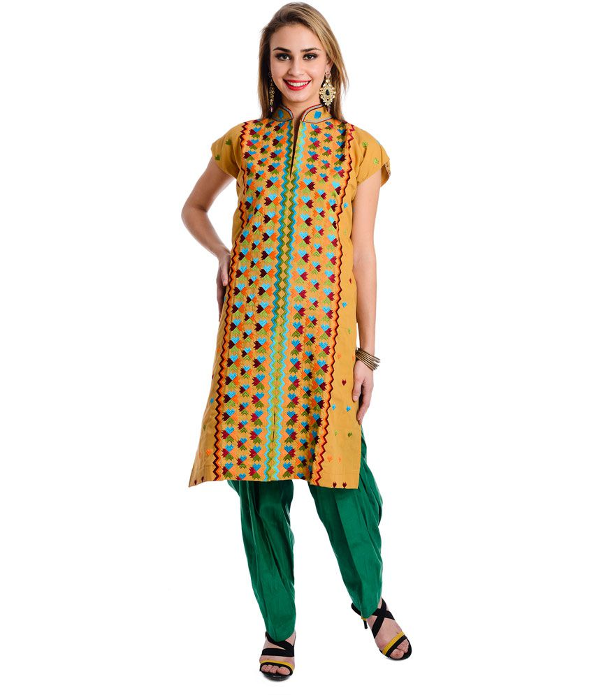 Ethnic Bliss Lifestyles Multi Color Semi Stitched Cotton Phulkari Threadwork Kurti