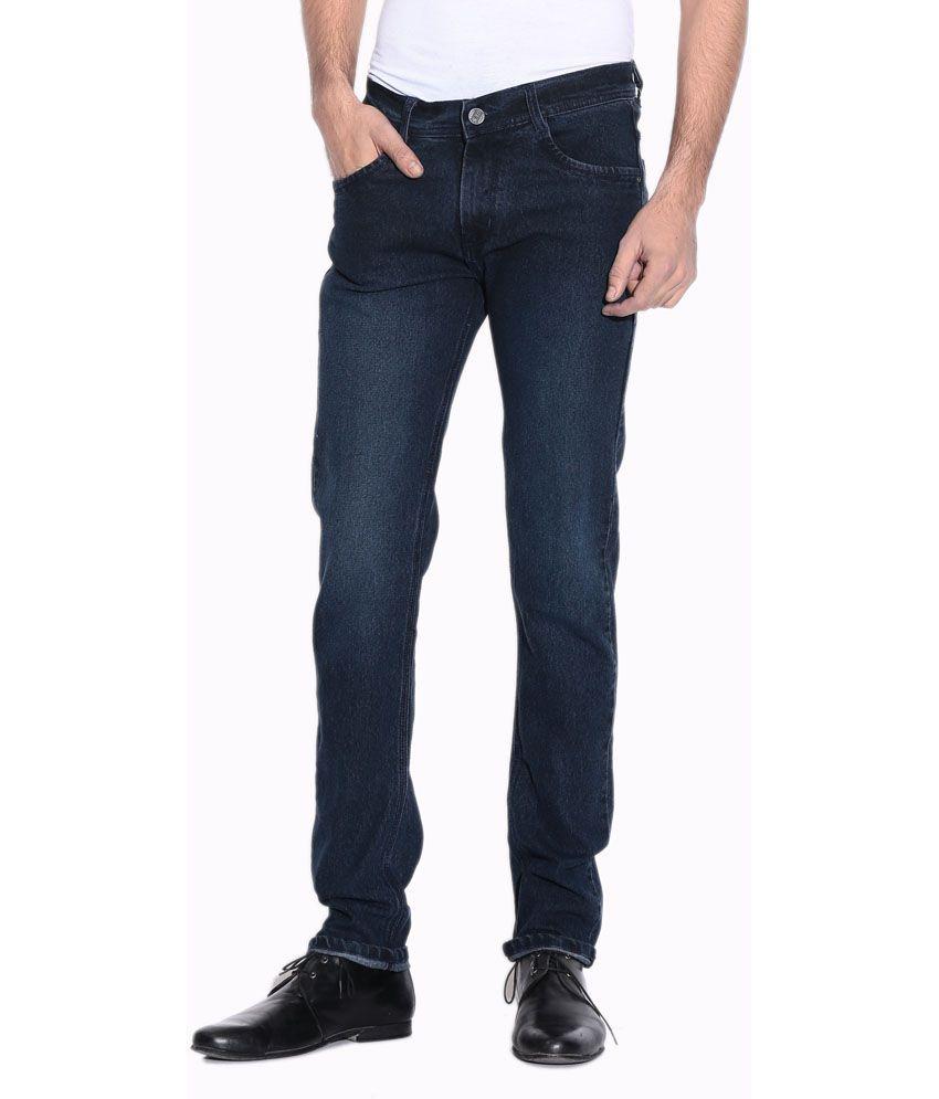 Pazel Blue Cotton Blend Stretchable Men Jean
