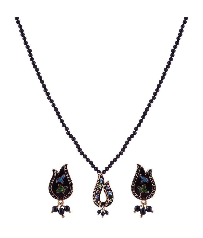 Sai Shagun Jewels Minakari Black Pendant Set