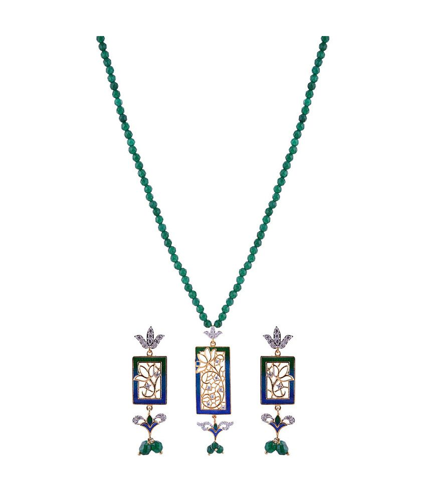 Sai Shagun Jewels Minakari Blue Green Rectangle Shape  Pendant Set