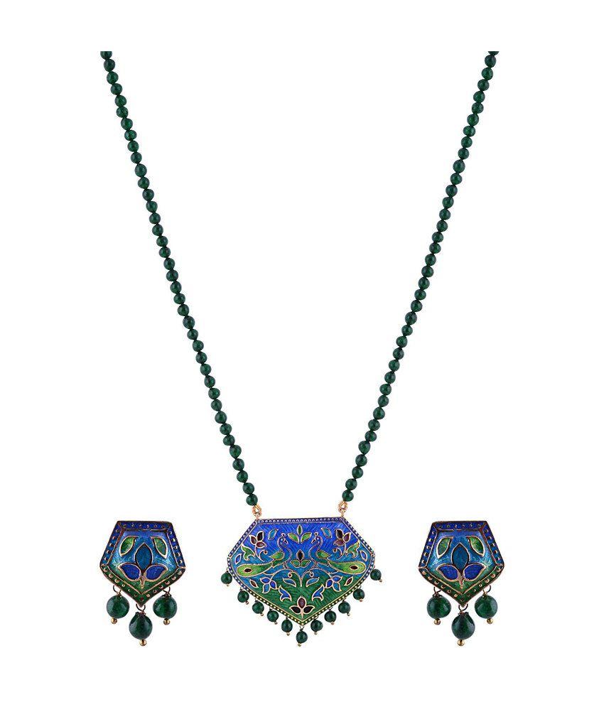 Sai Shagun Jewels Minakari Blue Green Peacock Double Pendant Set