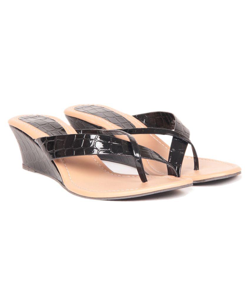 Sindhi Footwear Black Wedges Heeled Slip-on