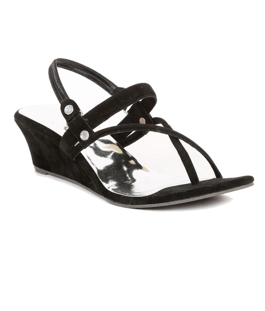 Sindhi Footwear Black Wedges Sandals
