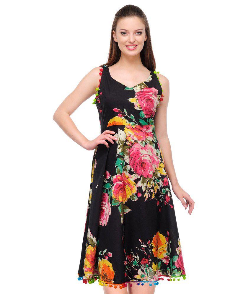 Shabhari Black Printed Dress