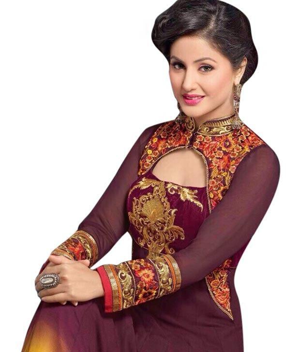 Veddeal S Latest Hina Khan Maroon Fancy Stylish Anarkali Suit Buy