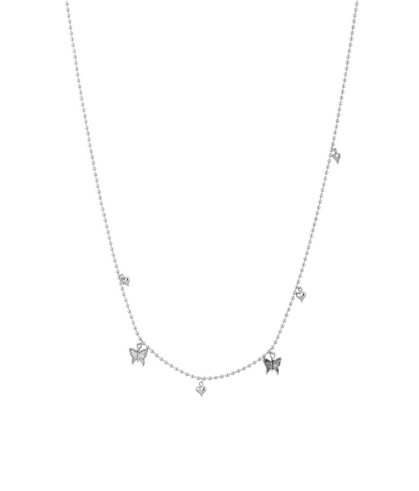 Voylla Butterfly And Hearts Silver Toned Chunky Necklace