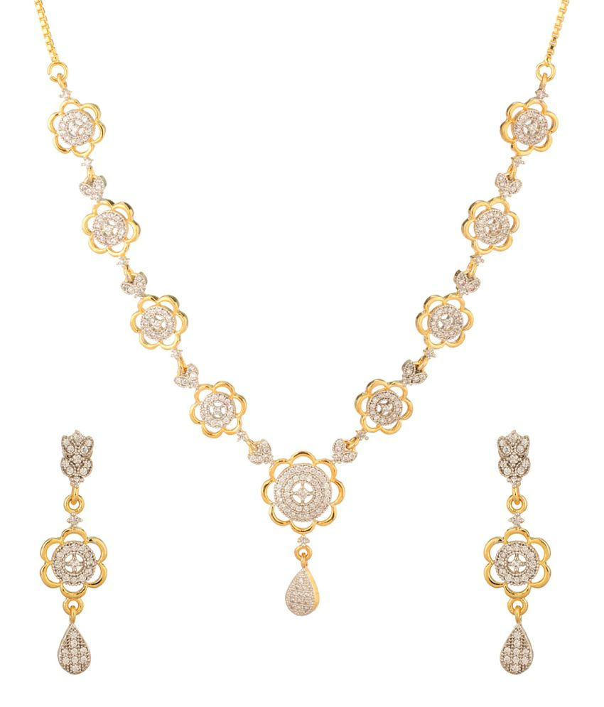 Voylla Exclusive Gold Plated Necklace Set Adorned With Enticing Cz Stones
