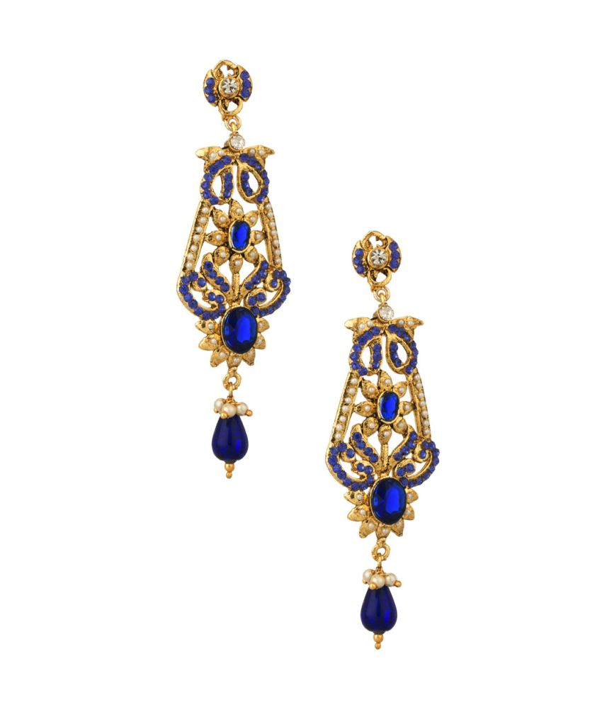 Voylla Gold Plated Dangler Earrings With Blue Color Stones, Shiny Cz And Tiny Pearl Beads