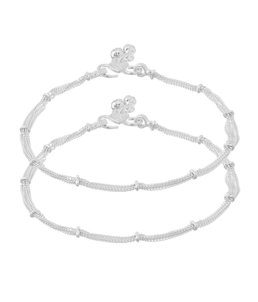 Voylla Pair Of Dainty Silver Anklets