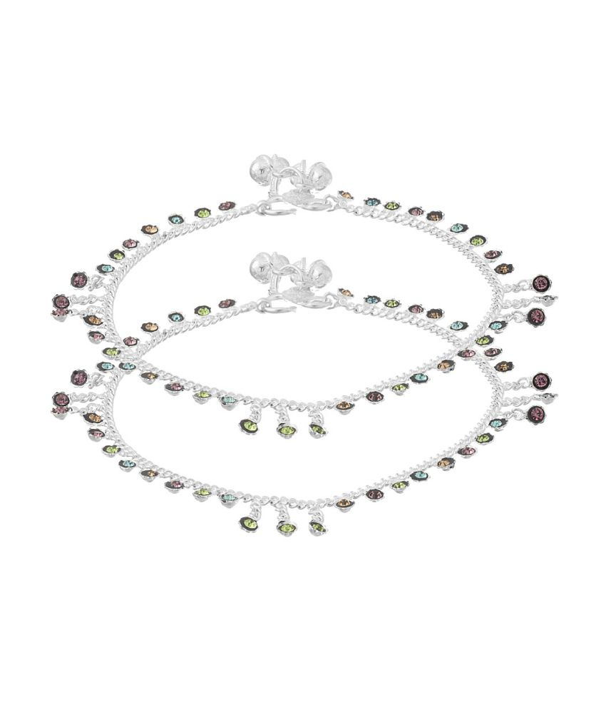 Voylla Pair Of Silver Anklets Studded With Colored Stone