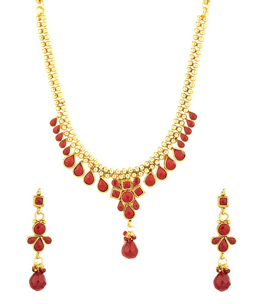 Voylla Traditional Gold Plated Necklace Set Adorned With Red Color Stones