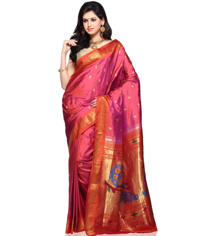 72c98ea084190d Yeola Paithani Red and Pink Art Silk Paithani Saree - Buy Yeola Paithani Red  and Pink Art Silk Paithani Saree Online at Low Price - Snapdeal.com