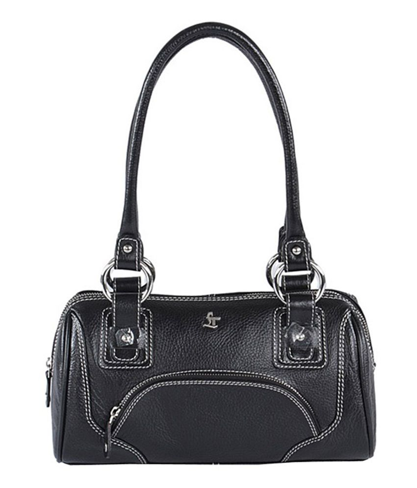 Leather Talks Black Leather Xylia Handbag