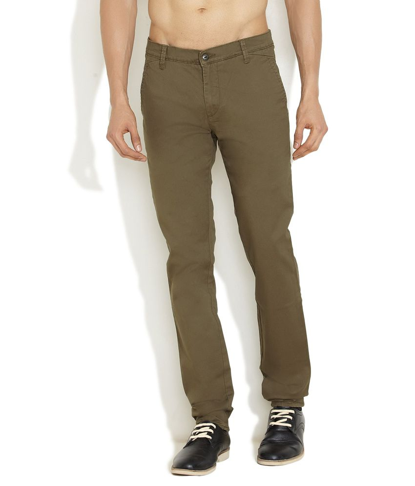 Lee Olive Green Casual Trouser