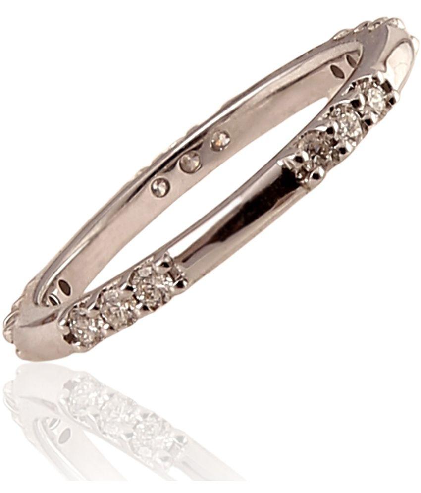 Ratnam Real Diamond White Gold Ring Band For Women